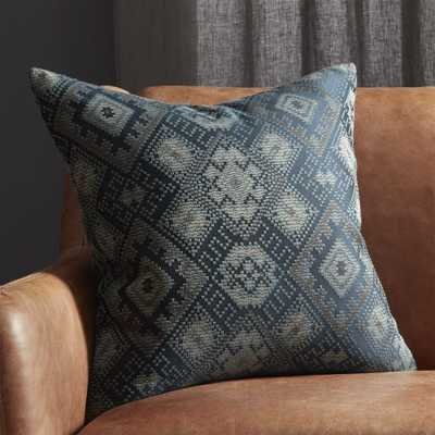 """""""20"""""""" Ixchel Blue Patterned Pillow with Down-Alternative Insert"""" - CB2"""