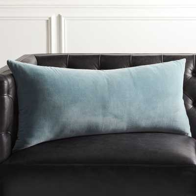 """36""""X16"""" Leisure Artic Blue Pillow with Feather-Down Insert"" - CB2"