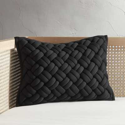 """18""""x12"""" Jersey Interknit Black Pillow with Feather-Down Insert"" - CB2"