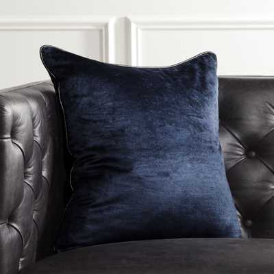 """""""18"""""""" Navy Crushed Velvet Pillow with Feather-Down Insert"""" - CB2"""