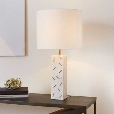 Graphic Brass Inlay Table Lamp - Tall - West Elm