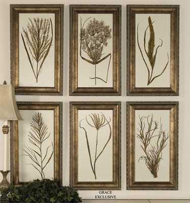 'Wheat Grass' 6 Piece Framed Painting Print Set - Hudsonhill Foundry
