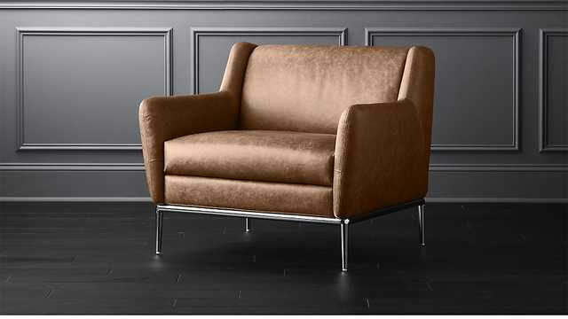 Alfred Cognac Leather Chair - CB2