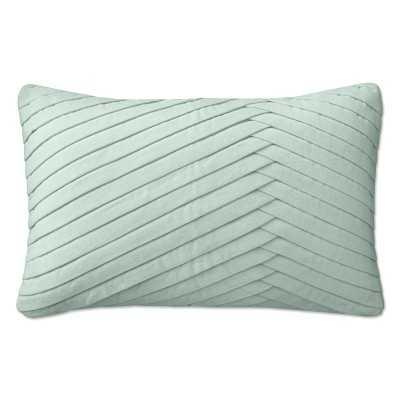 """Pleated Velvet Lumbar Pillow Cover, 14"""" X 22"""", Seafoam - Williams Sonoma"""