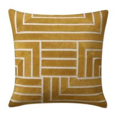 "Briar Cut Suede Pillow Cover, 20"" X 20"", Gold - Williams Sonoma"