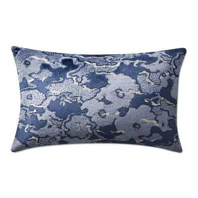 """Cumulus Velvet Jacquard Lumbar Pillow Cover, 14"""" X 22"""", Blue - Williams Sonoma"""