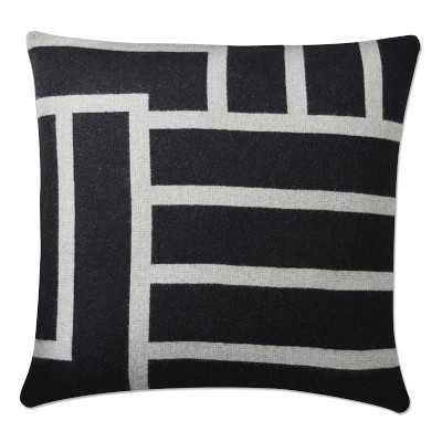 "Moderne Reversible Lambswool Pillow Cover, 22"" X 22"", Caviar - Williams Sonoma"