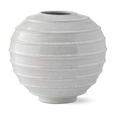 Horizontal Ridged Vase, Small, White Crackle - Williams Sonoma