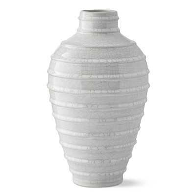 Horizontal Ridged Vase, Large, White Crackle - Williams Sonoma