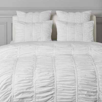 Allover Ruched Bedding, Duvet, King, White - Williams Sonoma
