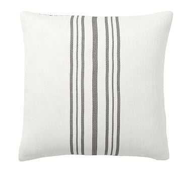 """Culver Reversible Stripe Grainsack Pillow Cover, 20"""", Gray - Pottery Barn"""