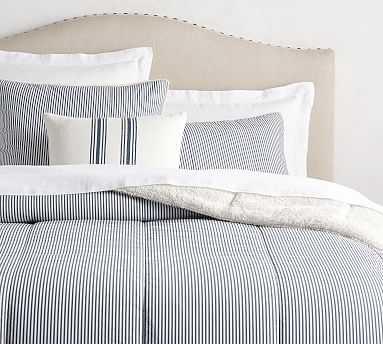 Wheaton Stripe Sherpa Comforter, King/Cal. King, Navy - Pottery Barn