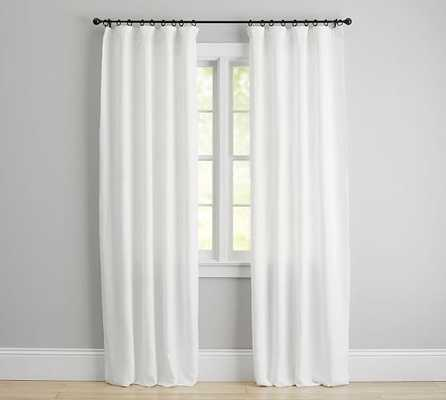 "Classic Belgian Flax Linen Drape, White, Blackout Lining, 50""x84"" - Pottery Barn"