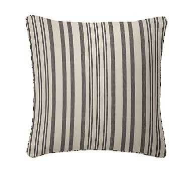 "Antique Stripe Print Pillow Cover, 20"", Gray - Pottery Barn"