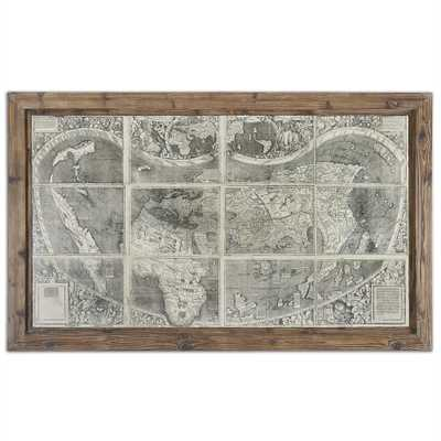 "Treasure Map - 71"" x 43"" - Reclaimed Wood Frame without Mat - Hudsonhill Foundry"