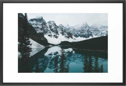 moraine lake- Vector black frame with mat - Society6