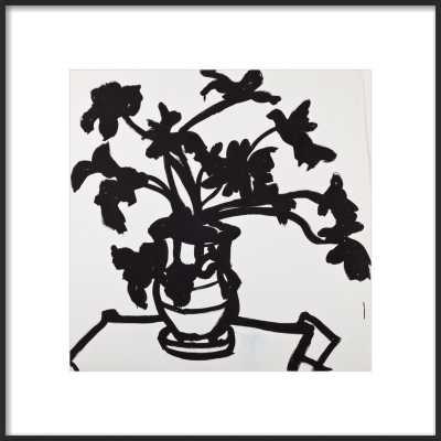 black acrylic drawing of a plant - Artfully Walls