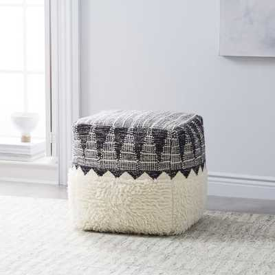 Ikat Border Pouf - Ivory - West Elm