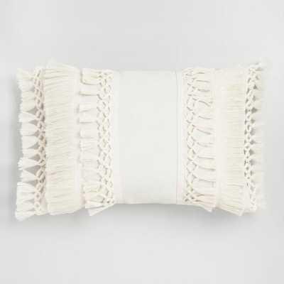 Ivory Fringe Indoor Outdoor Lumbar Pillow - World Market/Cost Plus