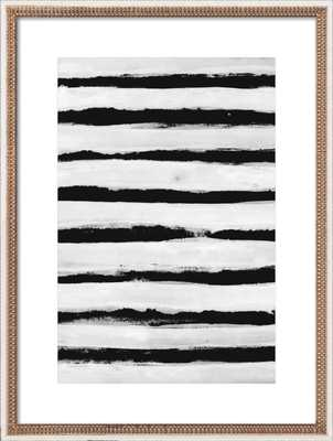 "Black and White Stripes - 14x20"" -Gold Leaf Wood, frame - Artfully Walls"