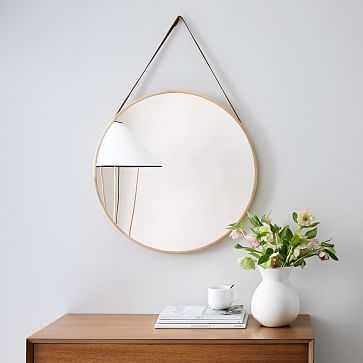 Modern Hanging Mirror, Natural + Tan - West Elm
