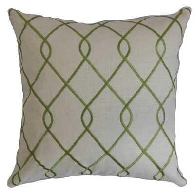 Jolo Geometric Pillow Green - Lumbar - Down Insert - Linen & Seam