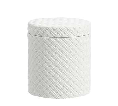 Porcelain Basketweave Accessories, Large Canister, White - Pottery Barn