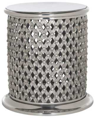 METAL LACE TABLE STOOL/SILVER - Arlo Home