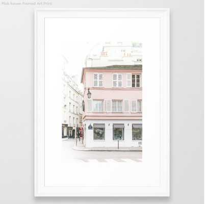 Pink house framed print, scoop white , 15 X 21 - Society6