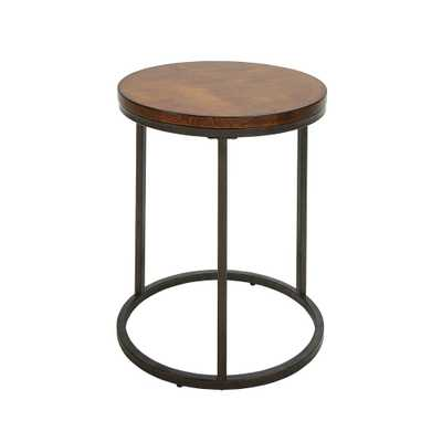 Kinston Chestnut and Industrial Wood Top Accent Table - Home Depot
