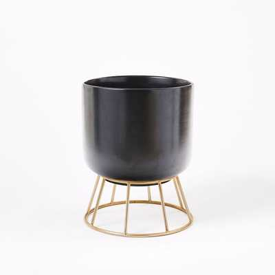 Wire Global Standing Planter, Black/Gold, Large - West Elm
