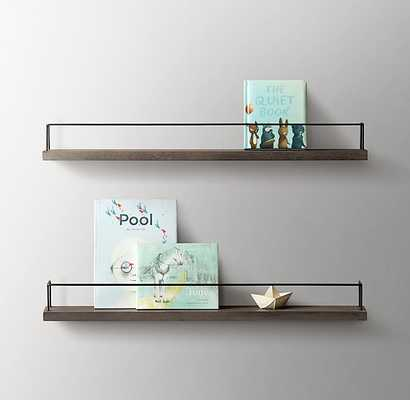 MINIMALIST BOOK DISPLAY SHELF - AGED ACACIA WARM GREY/AGED STEEL - RH Baby & Child