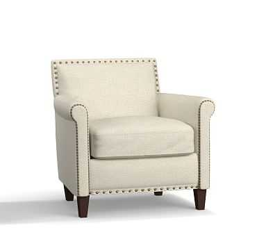 SoMa Roscoe Upholstered Armchair, Polyester Wrapped Cushions, Basketweave Slub Oatmeal - Pottery Barn