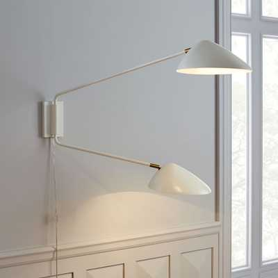 Curvilinear Mid-Century Sconce - Double (White) - West Elm