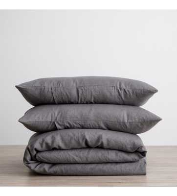 CULTIVER LINEN BEDDING, CHARCOAL GREY DUVET SET - Lulu and Georgia