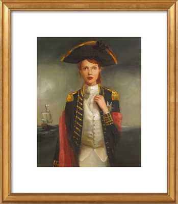Her Face Launched a Thousand Ships -  14 x 17 - Gold Leaf Wood Frame with white border - Artfully Walls