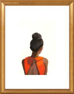"Top Knot 35 - 10"" x 14"" - Gold Leaf Wood frame - with mat - Artfully Walls"