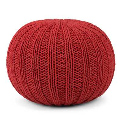 Shelby Candy Red Round Pouf - Home Depot