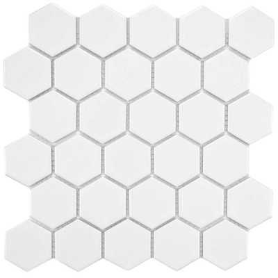 Merola Tile Metro Hex 2 in. Matte White 10-1/2 in. x 11 in. x 5 mm Porcelain Mosaic Tile (8.02 sq. ft. / case), Matte White/Low Sheen - Home Depot