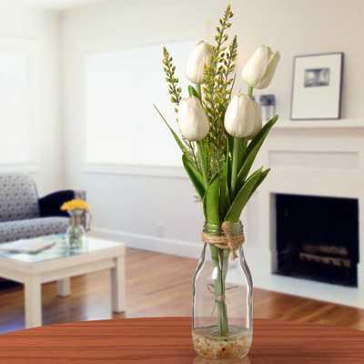 White Tulip Arrangement in Glass Vase - Home Depot