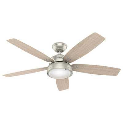 Hunter Channelside 52 in. LED Indoor/Outdoor Matte Nickel Ceiling Fan - Home Depot