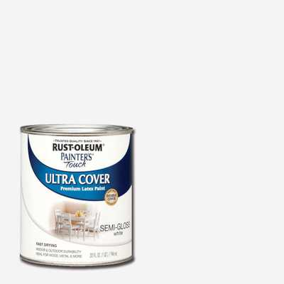 Rust-Oleum Painter's Touch 32 oz. Ultra Cover Semi-Gloss White General Purpose Paint (Case of 2), Whites - Home Depot
