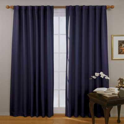 Eclipse Fresno Blackout Dark Blue Curtain Panel, 84 in. Length - Home Depot