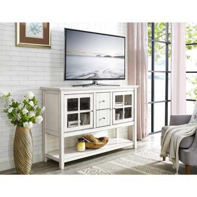 52 in. Antique White Wood Console Table Buffet TV Stand - Home Depot