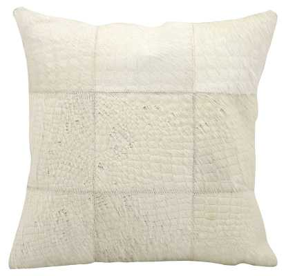 """Sulphur Natural Leather Hide Throw Pillow"" White https://www.wayfair.com/decor-pillows/pdp/trent-austin-design-sulphur-leather-throw-pillow-tadn6632.html?piid=26609962 - Wayfair"