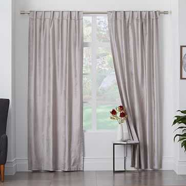 "Cotton Luster Velvet Curtain, 48""x96"", Platinum - unlined - West Elm"