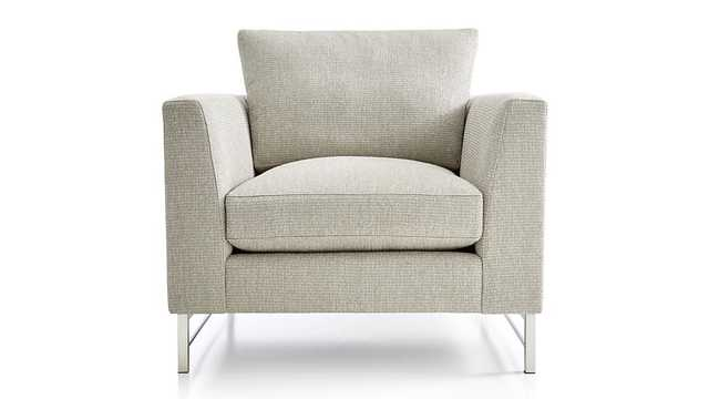 Tyson Chair with Stainless Steel Base- Vail,Storm - Crate and Barrel