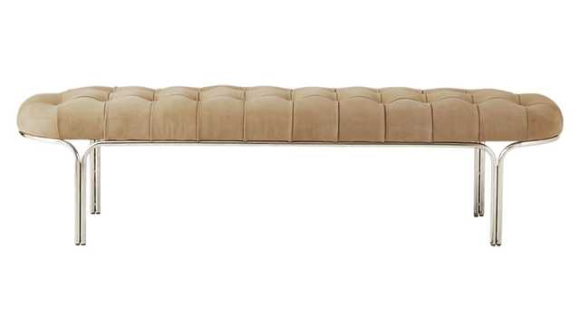 Luxey Tufted Suede Bench - CB2