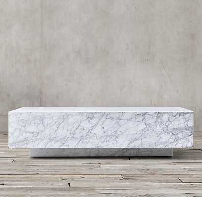 MARBLE PLINTH COFFEE TABLE - RH