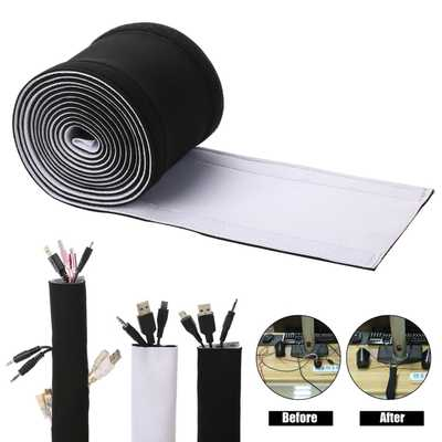 Cable Management Sleeves, ENVEL Neoprene Cord Organizer with Free Nylon for TV USB PC Computer Network Wires ( 118 inches ) DIY by Yourself, Adjustable Black and White Reversible Wire Hider - Amazon